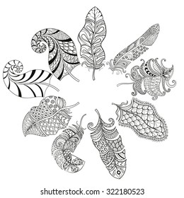 Zentangle stylized various feathers for coloring page. Hand drawn vintage illustration for adult anti-stress coloring page on white background. Ethnic decorative elements.