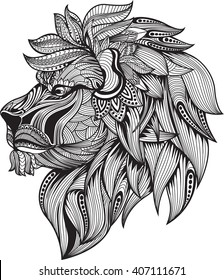 zentangle stylized.lion head , Vector Hand Drawn sketch for tattoo design or makhenda.