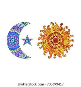 Zentangle sun, new moon and star  symbols. Colorful ethnic pattern. Vector illustration isolated on white background.