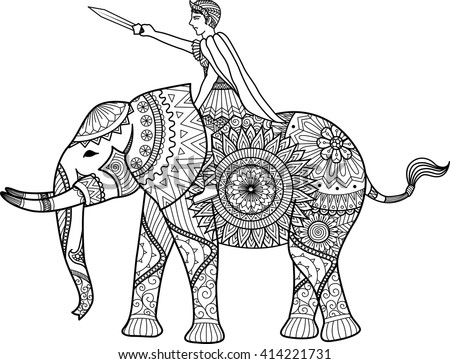 Zentangle Sylized Warrior Riding Elephant Coloring Stock Vector