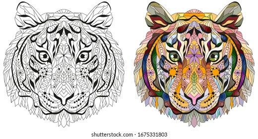 Zentangle tiger head. Hand drawn decorative vector illustration. Color and outline set