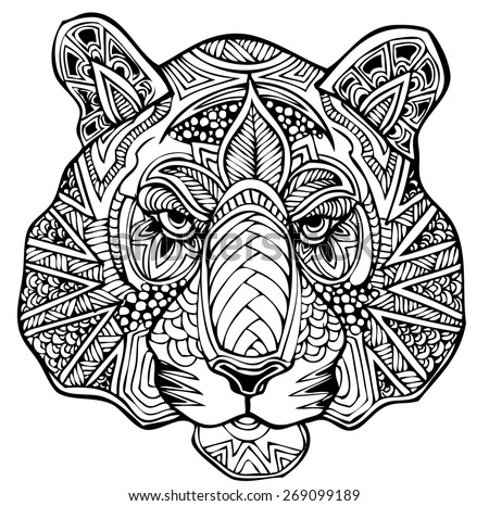 Zentangle tiger vector illustration - Mandalas de tigres ...
