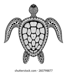 Zentangle tribal stylized turtle. Hand Drawn aquatic doodle vector illustration. Sketch for tattoo or makhenda. Animal sea collection. Ocean life.