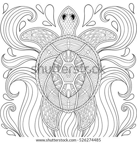 Zentangle Turtle Waves Freehand Sketch Adult Stock Vector Royalty