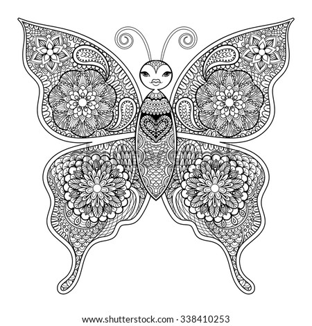 Zentangle Vector Butterfly Adult Anti Stress Stock ...