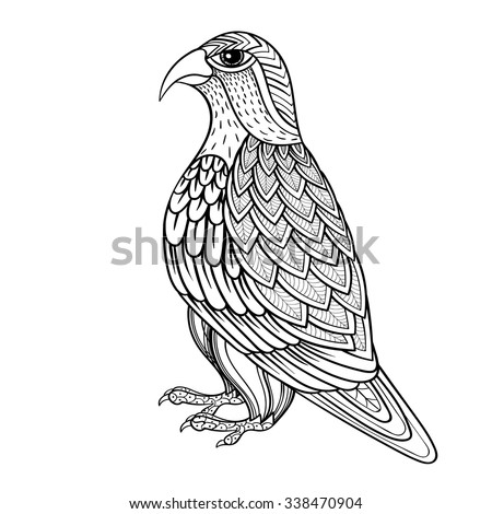 Zentangle Vector Falcon Bird Hawk Prey Stock Vektorgrafik