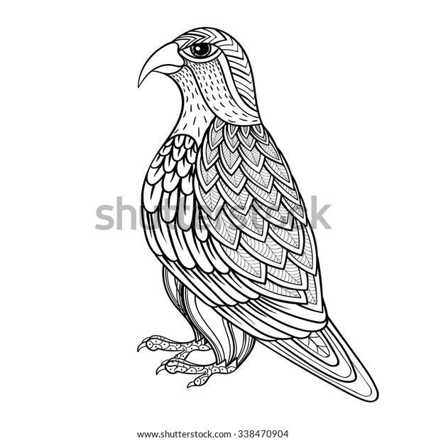 Zentangle Vector Falcon Bird Hawk Prey Stock Vector Royalty