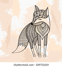 Zentangle vector Fox, tattoo in hipster style. Ornamental tribal patterned illustration for adult anti stress coloring pages. Hand drawn black sketch isolated on grunge background. Animal collection.