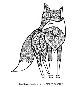 Zentangle vector happy Fox for adult anti stress coloring pages. Ornamental tribal patterned illustration for tattoo, poster, print. Hand drawn  sketch isolated on white background. Animal collection.