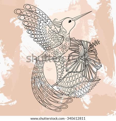 Zentangle Vector Hummingbird Hibiskus Tattoo Design Stock Vector