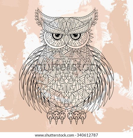 Zentangle Vector Owl Tattoo Design Doodle Stock Vector Royalty Free