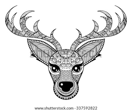 zentangle vector reindeer for adult antistress coloring pages ornamental tribal patterned christmas deer head illustration