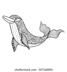 Zentangle vector sea Dolphin for adult anti stress coloring pages. Ornamental tribal patterned illustration for tattoo, poster or print. Hand drawn monochrome sketch. Sea animal collection.