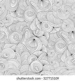 Zentangle wavy seamless pattern. Doodle black and white abstract vector background.