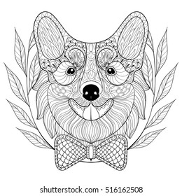Zentangle Welsh Corgi Bow Tie Wreath Stock Vector Royalty Free