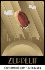 Zeppelin illustration art deco style