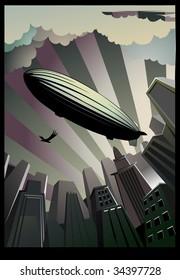 A zeppelin is in sky, placard.