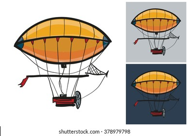 Zeppelin vector sketch in kids style on white, gray and dark background.