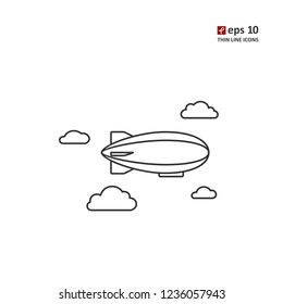 Zeppelin - vector thin line icon on white background. Symbol for web, infographics, print design and mobile UX/UI kit. Vector illustration, EPS10.
