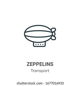 Zeppelins outline vector icon. Thin line black zeppelins icon, flat vector simple element illustration from editable transport concept isolated stroke on white background