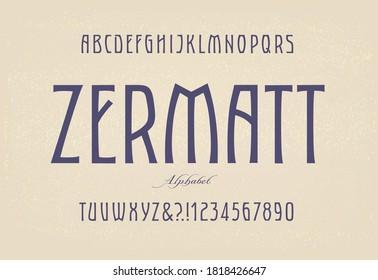 Zermatt; A minimalist and elegant luxury fashion alphabet with a nod to Art Nouveau type stylings.