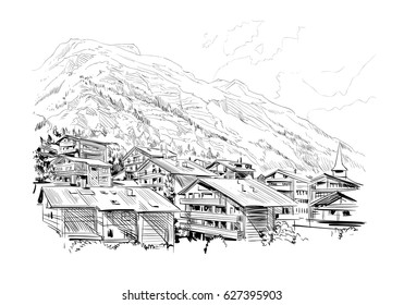 Zermatt tourist resort. Switzerland. Europe. Beautiful landscape. Hand drawn sketch vector illustration