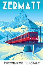 Zermatt Travel Poster with railway train in first plan and Matterhorn in the background. Handmade drawing vector illustration. Pop art vintage style.
