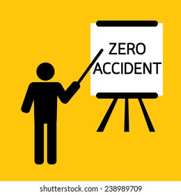 zero accident importance of safety presentation for training or teaching : business concept on yellow background vector