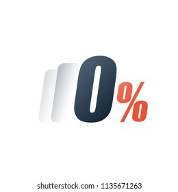 Zero commission fee, down payment installment, interest rate, nil number, special offer, free trial period, vector icon