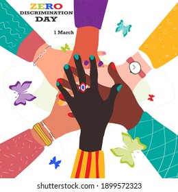 Zero Discrimination Day 1 March. Hands of diverse group of people putting together and different colors of butterflies. Vector stock illustration isolated on white background.