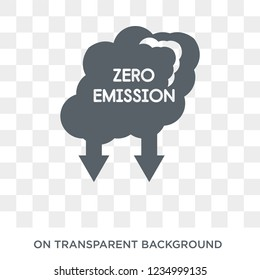 Zero emission icon. Trendy flat vector Zero emission icon on transparent background from smart home collection.