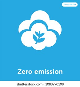 Zero emission vector icon isolated on blue background, sign and symbol, zero emission vector iconic concept