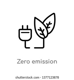 zero emission vector line icon. Simple element illustration. zero emission outline icon from smart house concept. Can be used for web and mobile