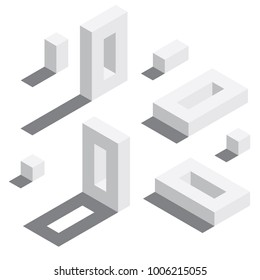 Zero number in isometric style. White on white digits with shadows. Educational set