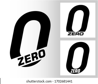 Zero; numeral and word logo for number. Zero letter with zero figure logo design. Number and name typography.  Text logo studies for all numbers.