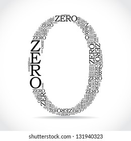 zero sign created from text - illustration