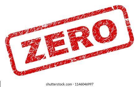 ZERO stamp seal watermark with grunge style. Red vector rubber print of ZERO text with grunge texture. Text caption is placed inside rounded rectangle frame.