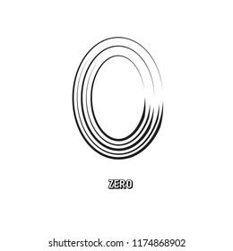 Zero Symbol Original Vector Illustration and Text on White Texture. Null Sign Design