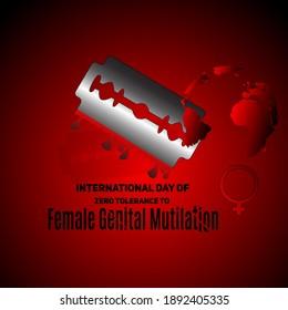 Zero Tolerance for Female Genital Mutilation. Stop female genital mutilation. Zero tolerance for FGM. Stop female circumcision, female cutting