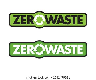Zero Waste Badge or Emblem Vector Design. Set of two Zero Waste graphic design elements with rotating life cycle or recycle arrows symbol and planet earth icon.