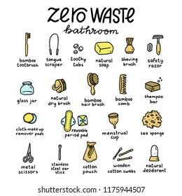 Zero waste. Bathroom products set. Vector illustration.