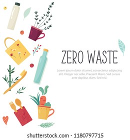 Zero Waste concept design with elements and place for text. Waste less life illustration. - Shutterstock ID 1180797715