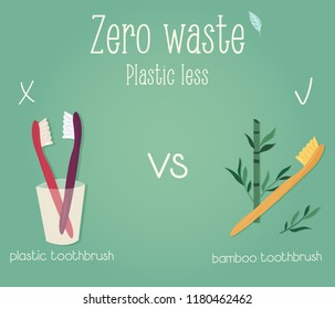 Zero waste concept poster. Plastic toothbrush vs bamboo toothbrush
