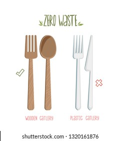 Zero waste concept poster. Reusable wooden cutlery vs plastic cutlery. Vector illustration