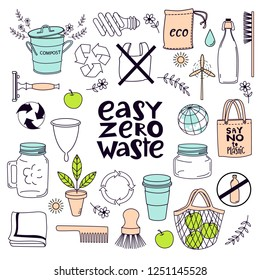 Zero waste concept set. Colorful line art collection of eco and waste elements. Vector illustration. Easy zero waste.