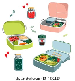 Zero waste concept set with different lunch boxes. Hand drawn vector illustration isolated on white background.