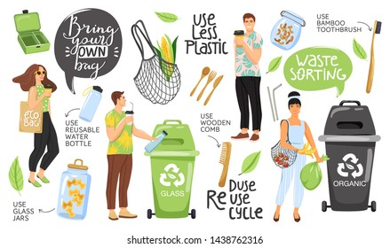 Zero waste concept set with eco objects, people and lettering. Shopping bag, container, comb, bottle, jar, toothbrush, vegetable etc. Eco life. Vector.