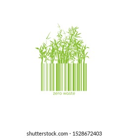 Zero Waste Conceptual Logotype with Barcode Bamboo Green Plant. Vector Isolated Bar Code Logo for Plastic free Natural Shop Products. Paper or Wooden Reuse Technology
