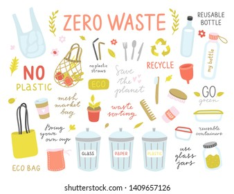 Zero waste cute vector illustrations. Eco lifestyle icons and elements. No plastic and go green concept
