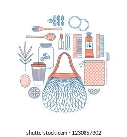 Zero waste design template. Eco shopping. Body care kit. Vector illustration